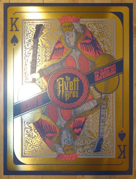 2016 The Avett Brothers - Las Vegas Gold Variant Silkscreen Concert Poster by Status
