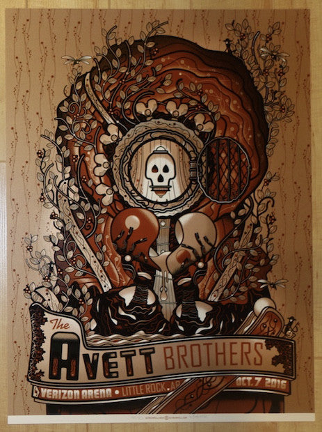 2016 The Avett Brothers - Little Rock Silkscreen Concert Poster by Guy Burwell