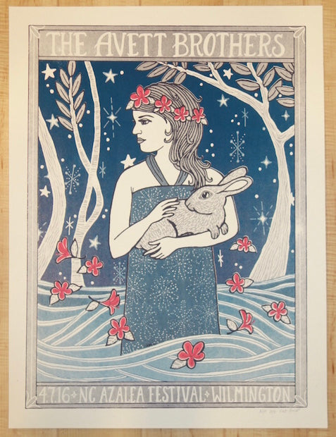 2016 The Avett Brothers - Wilmington Silkscreen Concert Poster by Kat Lamp