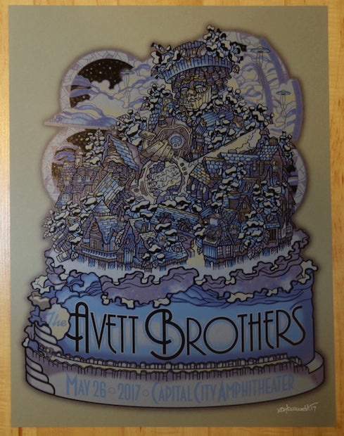 2017 The Avett Brothers - Tallahassee Blue Variant Silkscreen Concert Poster by Guy Burwell