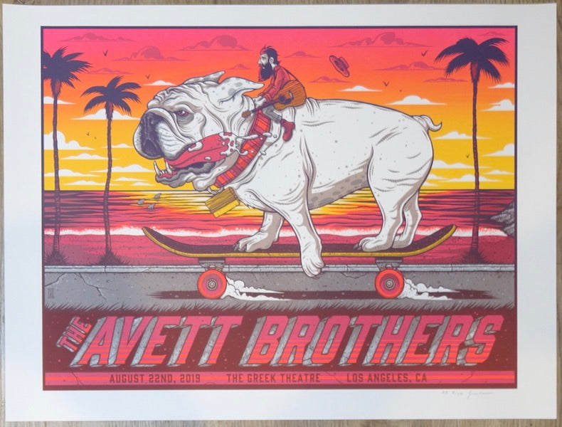2019 The Avett Brothers - Los Angeles Silkscreen Concert Poster by Jim Mazza