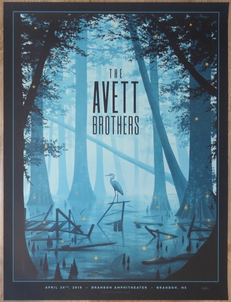 2019 The Avett Brothers - Brandon Silkscreen Concert Poster by Nicholas Moegly