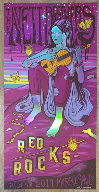2019 The Avett Brothers - Red Rocks I VIP Foil Variant Concert Poster by Jim Mazza