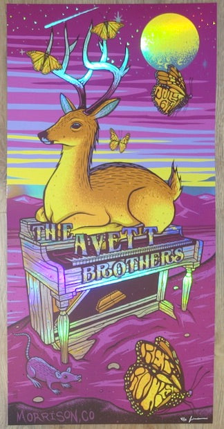 2019 The Avett Brothers - Red Rocks II VIP Foil Variant Concert Poster by Jim Mazza