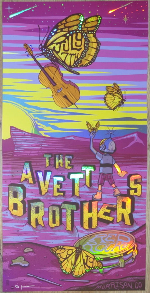 2019 The Avett Brothers - Red Rocks III VIP Foil Variant Concert Poster by Jim Mazza