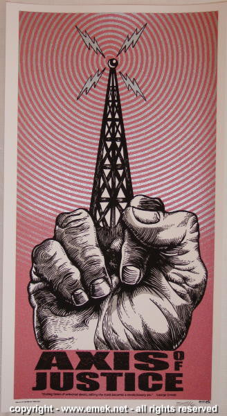 2004 Axis of Justice Silkscreen Handbill by Emek