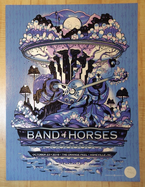 2016 Band of Horses - Asheville Metallic Variant Concert Poster by Guy Burwell