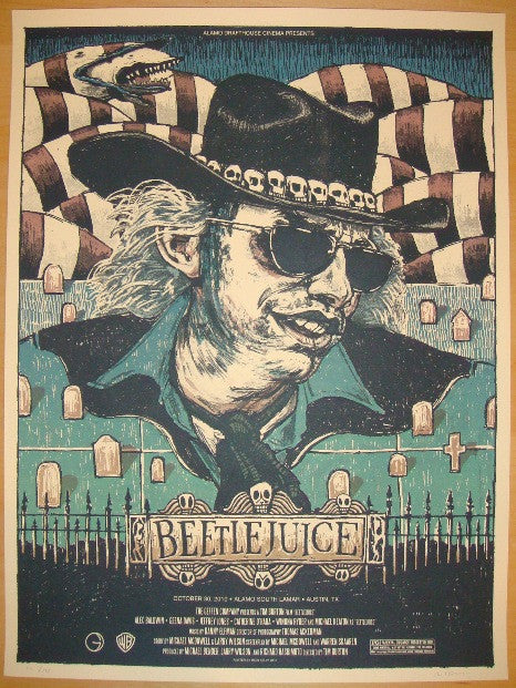 "2010 ""Beetlejuice"" - Silkscreen Movie Poster by Rich Kelly"