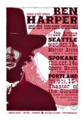 1999 Ben Harper - NW Tour Concert Poster by Gary Houston