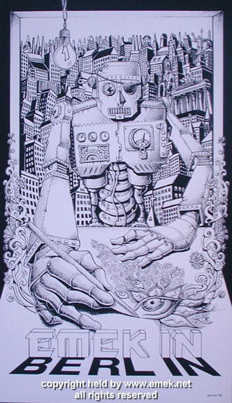 1999 Emek in Berlin Black & White Variant Poster by Emek