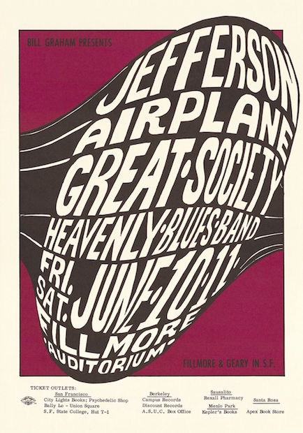 1966 Jefferson Airplane / Great Society - Fillmore Concert Poster by Wes Wilson RP-2