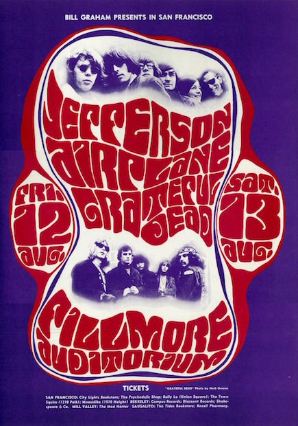 1966 Grateful Dead / Jefferson Airplane - Fillmore Concert Poster by Wes Wilson