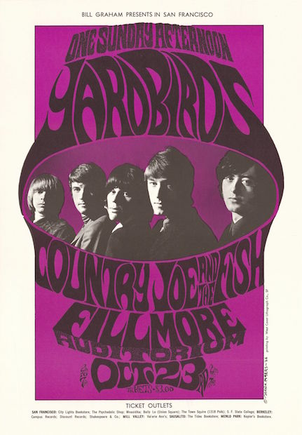 1966 Yardbirds / Country Joe & the Fish - Fillmore Concert Poster by John Myers RP-2