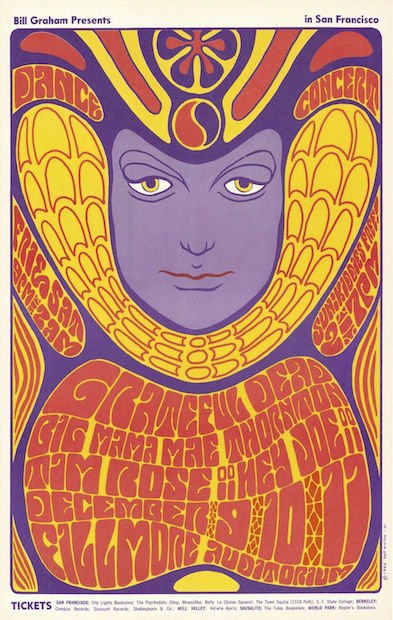 1966 Grateful Dead / Big Mama Mae Thornton - Fillmore Concert Poster by Wes Wilson RP-2