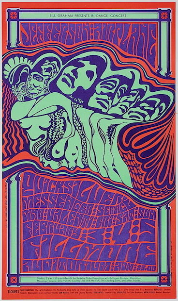 1967 Jefferson Airplane / Quicksilver Messenger Service - Fillmore Concert Poster by Wes Wilson
