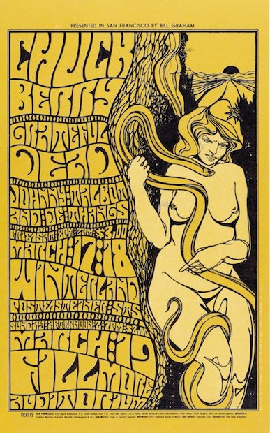 1967 Grateful Dead / Chuck Berry - Fillmore/Winterland Concert Poster by Wes Wilson