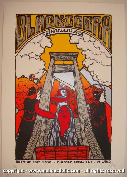 2008 Black Cobra Silkscreen Concert Poster by Malleus
