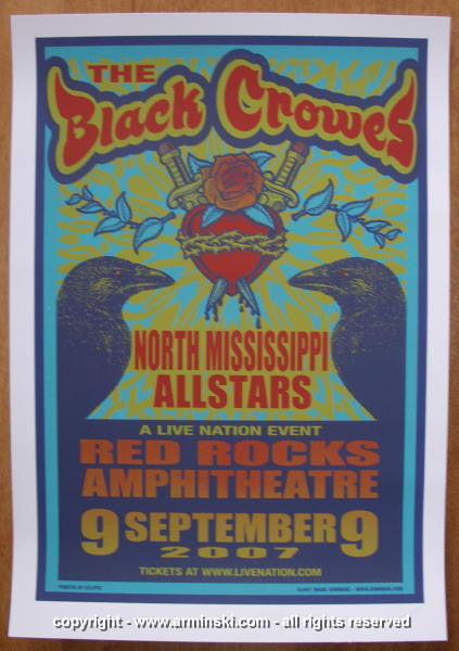 2007 The Black Crowes Silkscreen Concert Poster by Mark Arminski