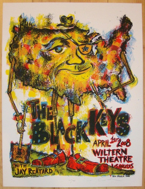 2008 The Black Keys - LA Silkscreen Concert Poster by Dan Grzeca