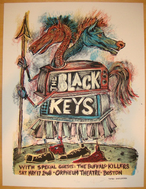 2008 The Black Keys - Boston Concert Poster by Dan Grzeca