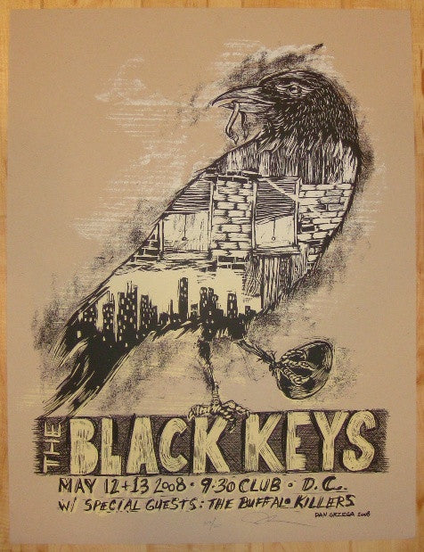 2008 The Black Keys - DC Silkscreen Concert Poster by Dan Grzeca
