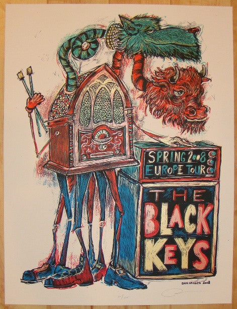 2008 The Black Keys - European Tour Poster by Dan Grzeca