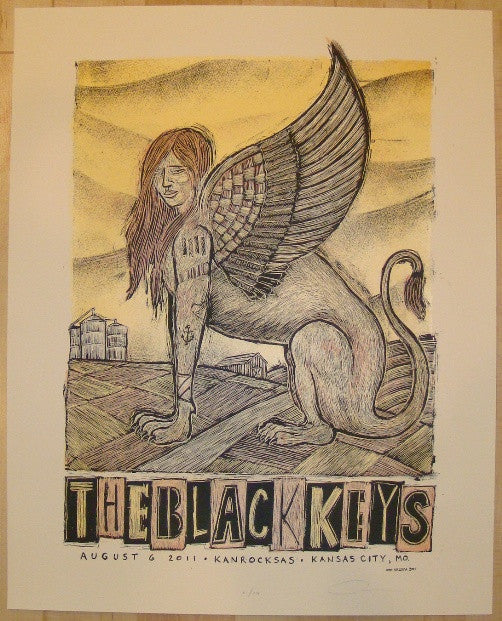 2011 The Black Keys - Kansas City Concert Poster by Dan Grzeca