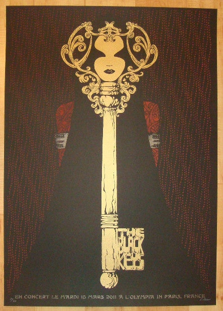 2011 The Black Keys - Paris Silkscreen Concert Poster by Malleus