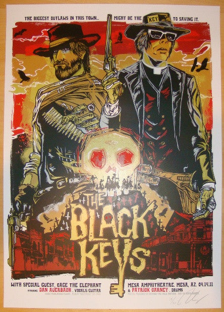 2011 The Black Keys - Mesa Concert Poster by Rhys Cooper