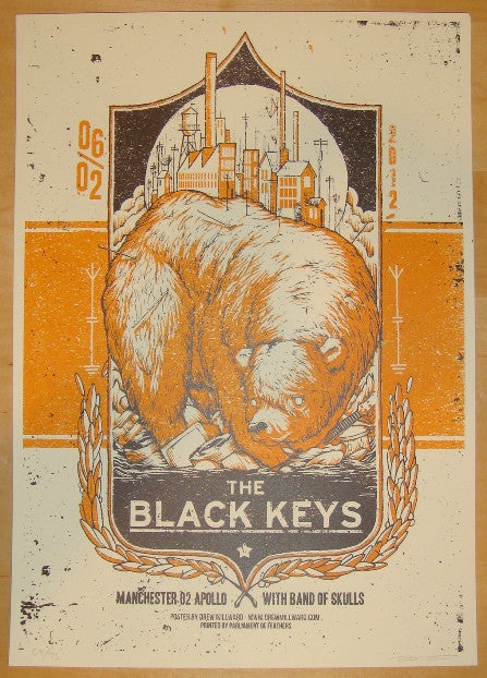 2012 The Black Keys - Manchester I Concert Poster by Millward