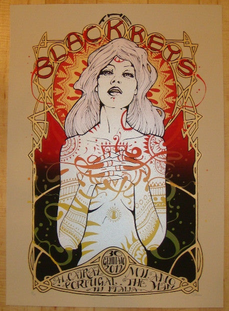 2012 The Black Keys - Milan Silkscreen Concert Poster by Malleus