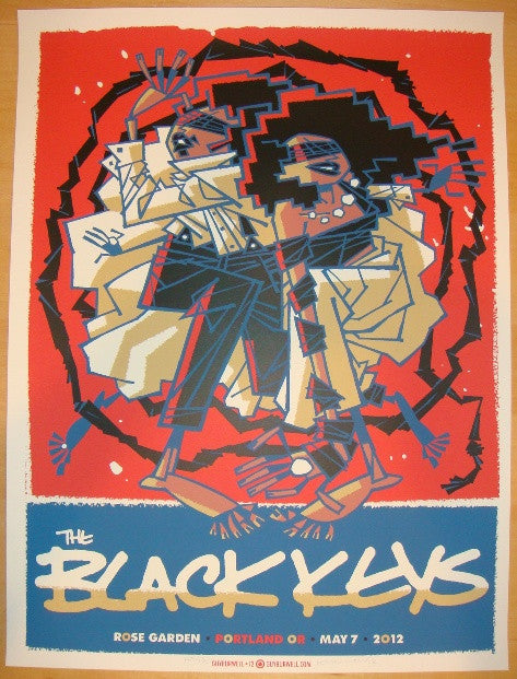 2012 The Black Keys - Portland Concert Poster by Guy Burwell