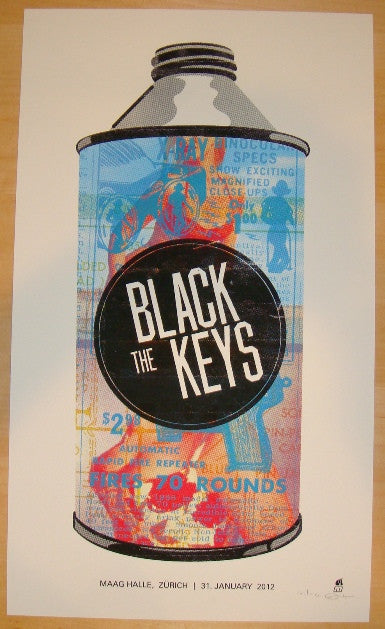2012 The Black Keys - Zurich Concert Poster by Methane