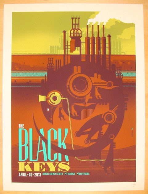 2013 The Black Keys - Pittsburgh Concert Poster by Tom Whalen