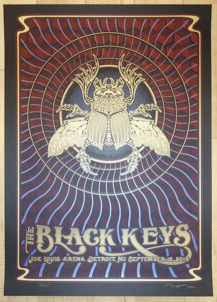2014 The Black Keys - Detroit Silkscreen Concert Poster by Dave Hunter
