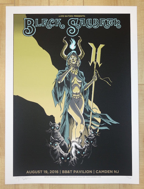 2016 Black Sabbath - Camden Silkscreen Concert Poster by Tim Doyle