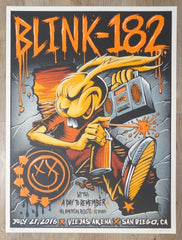 2016 Blink-182 - San Diego Silkscreen Concert Poster by Brandon Heart