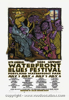 2003 Portland Blues Festival Silkscreen Poster by Gary Houston