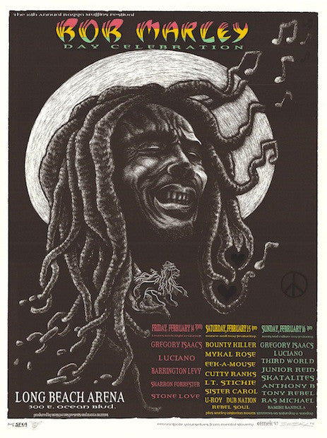 1997 Bob Marley Day w/ Gregory Isaacs & Luciano Poster by Emek