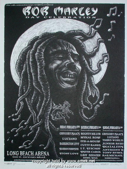 1997 Bob Marley Day w/ Gregory Isaacs Black/White Poster by Emek