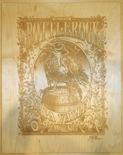 2013 Bottlerock - Napa Laser-cut on Maple Concert Poster by Zoltron
