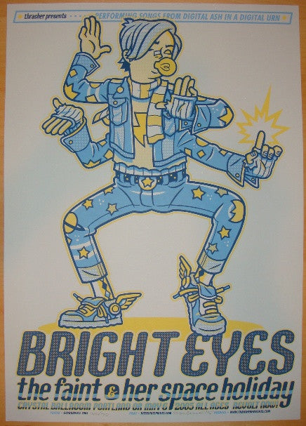 2005 Bright Eyes - Silkscreen Concert Poster by Guy Burwell
