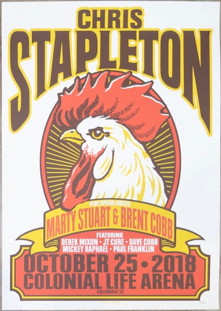 2018 Chris Stapleton - Columbia Silkscreen Concert Poster by Mike King