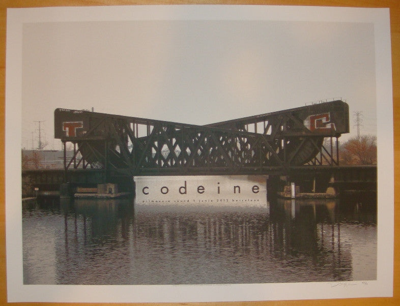 2012 Codeine - Barcelona Silkscreen Concert Poster by Crosshair