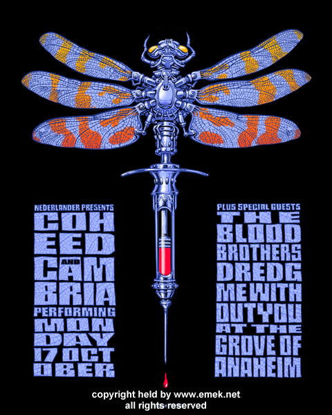 2005 Coheed and Cambria Silkscreen Concert Poster by Emek