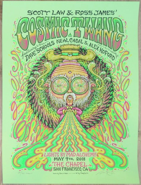 2018 Cosmic Twang - San Francisco Green Variant Concert Poster by Marq Spusta