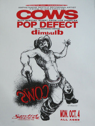 1993 (93-01) Cows w/ Pop Defect - Cleveland Concert Poster by Derek Hess
