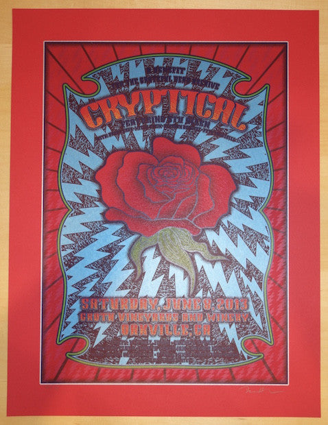 2013 Cryptical - Oakville Red Vellum Variant Concert Poster by Dave Hunter