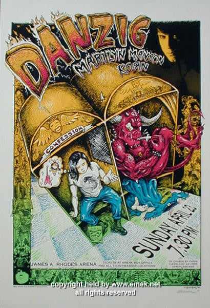 1995 Danzig, Korn, and Marilyn Manson Concert Poster by Emek