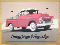 2015 David Gray & Amos Lee - Indianapolis Silkscreen Concert Poster by Charles Crisler
